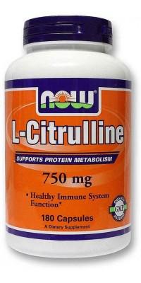 Цитруллин L-Citrulline 750мг 180 капсул Now