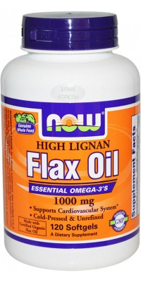 Organic Flax Oil 1000 мг 100 капсул Now