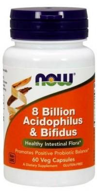 8 Billion Acidophilus & Bifidus 60 капсул Now