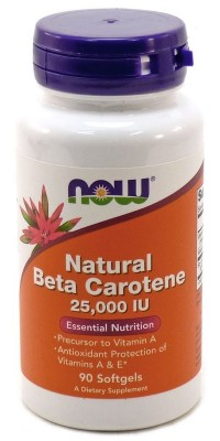Natural Beta Carotene 25000 90 капсул Now