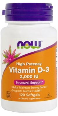 Витамин Д3 D-3 2000 Me 120 гелевых капсул Now