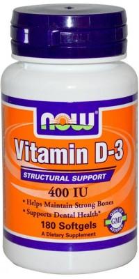Витамин Д3 D-3 400 Me 180 гелевых капсул Now