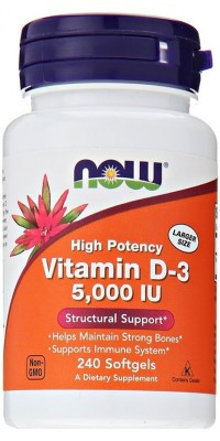 Витамин Д3 D-3 5000 Me 240 гелевых капсул Now