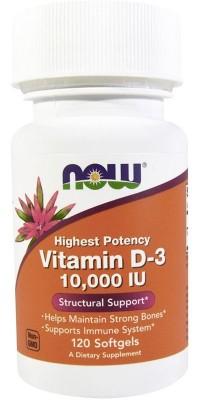 Витамин Д3 D-3 10000 Me 120 гелевых капсул Now