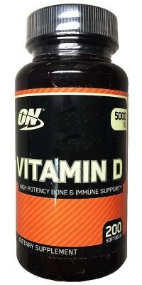 Витамин Д D 5000 МЕ 200 гелевых капсул Optimum Nutrition