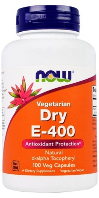 Dry Vegetarian E-400 d-alpha Tocopheryl 100 гелевых капсул Now
