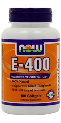 E-400 Mixed + Selenium 100 гелевых капсул Now