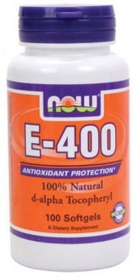 E-400 Natural d-alpha Tocopheryl 100 гелевых капсул Now