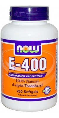 E-400 Natural d-alpha Tocopheryl 250 гелевых капсул Now