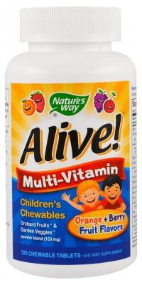 Alive! Once Daily Children's Chewable Multi-Vitamin 120 жевательных таблеток Nature's Way